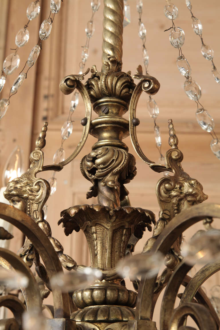 Antique Baroque Bronze And Crystal Chandelier At 1stdibs