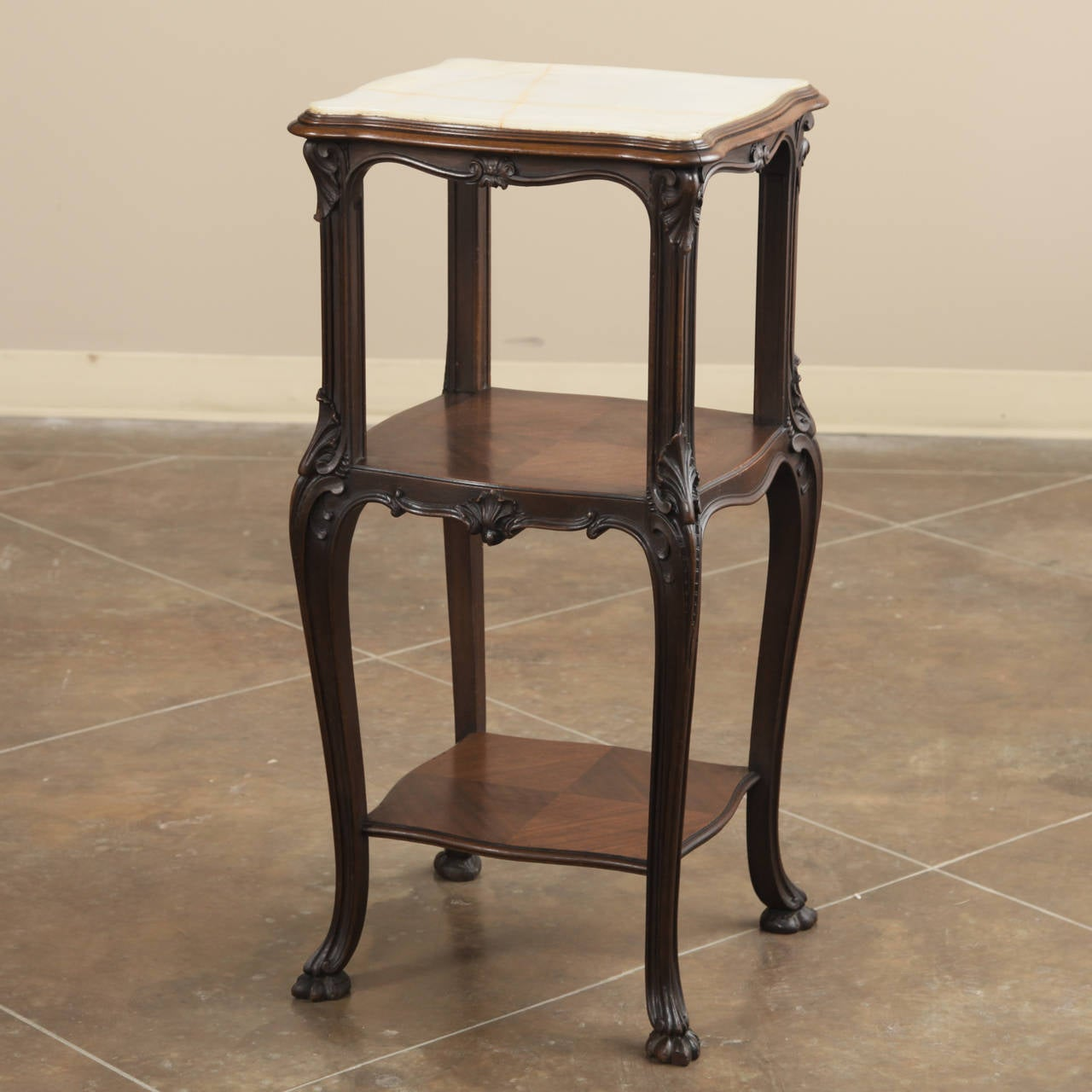 19th Century French Antique Solid Rosewood Onyx Top Nightstand or Lamp Table In Excellent Condition For Sale In Dallas, TX