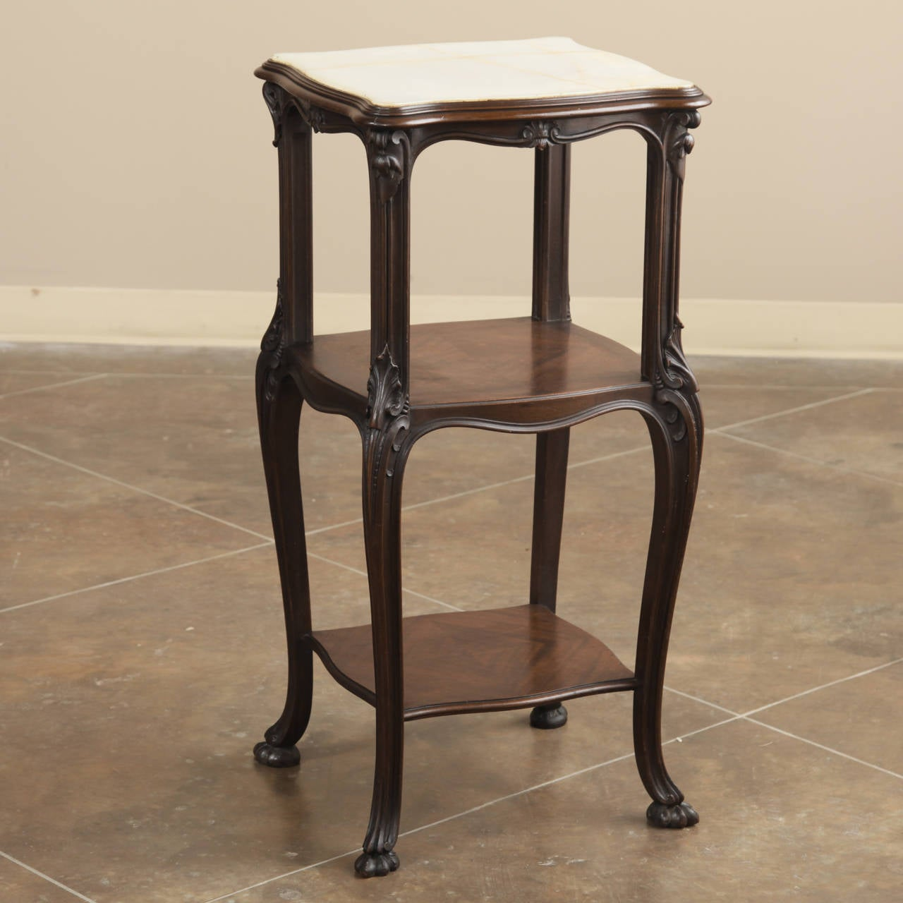 Late 19th Century 19th Century French Antique Solid Rosewood Onyx Top Nightstand or Lamp Table For Sale