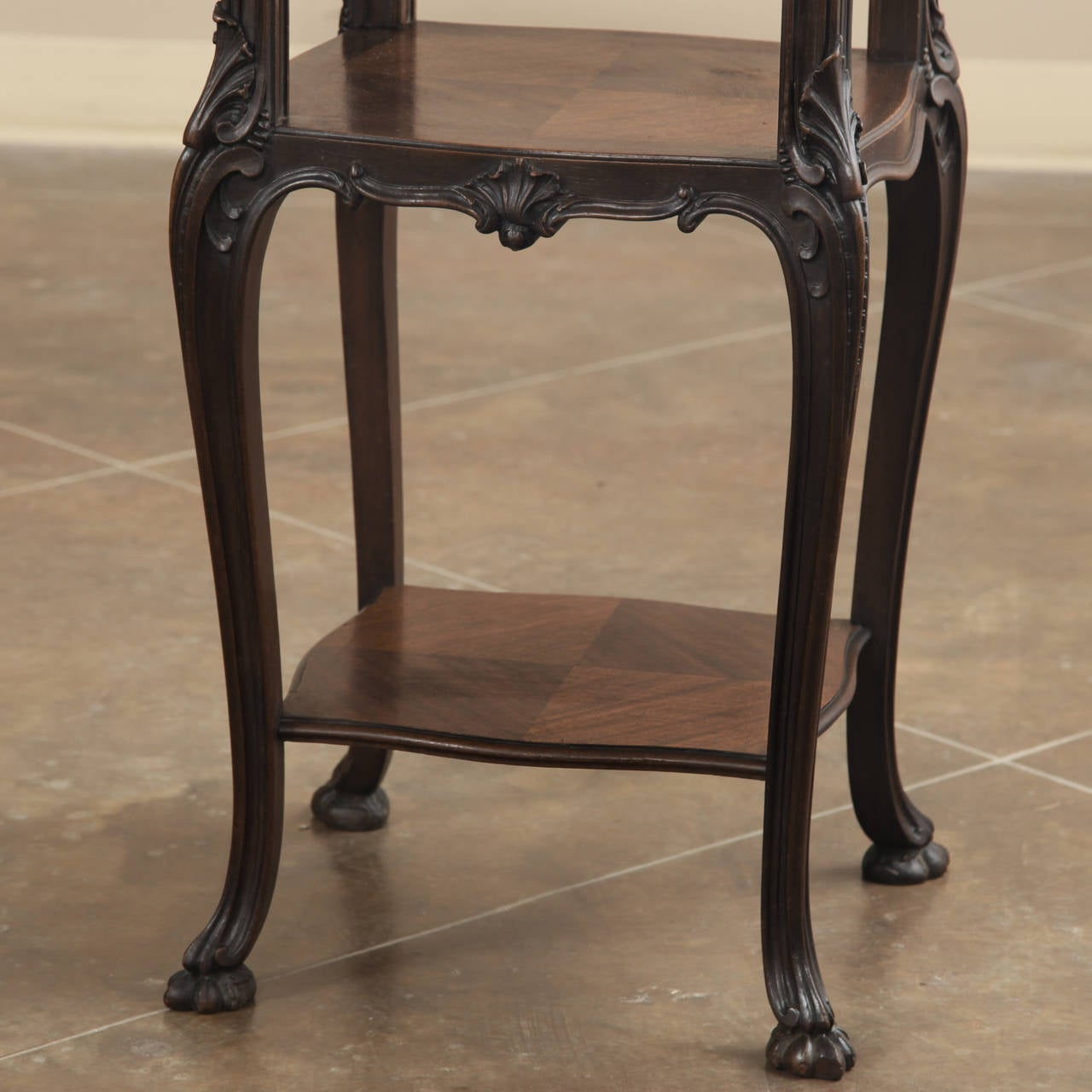 Hand-Carved 19th Century French Antique Solid Rosewood Onyx Top Nightstand or Lamp Table For Sale