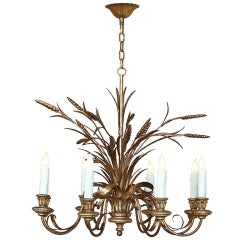 Vintage Italian Golden Wheat Chandelier