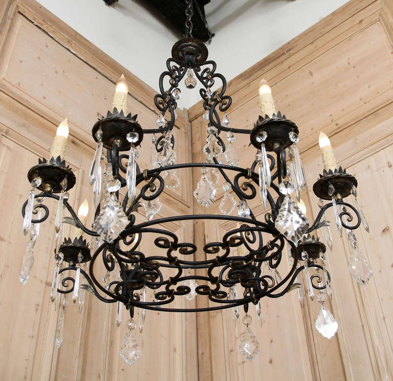 Vintage French Wrought Iron Crystal Chandelier In Excellent Condition For Dallas