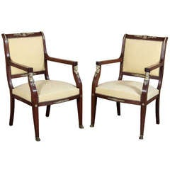 Pair Antique Second Empire Armchairs