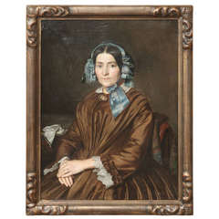 Antique French Oil Painting On Canvas in Original Gilded Frame, Circa 1850