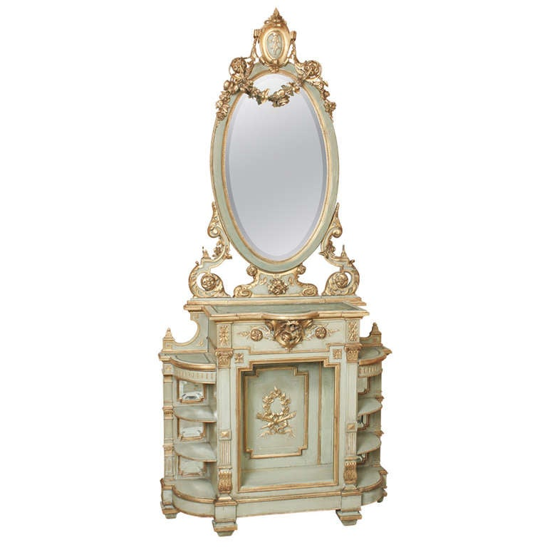 Antique italian baroque cabinet console with mirror at 1stdibs for Italian baroque mirror