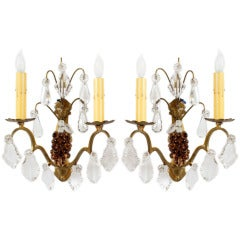 Pair of Italian Crystal and Bronze Handblown Grape Amber Venetian Glass Sconces