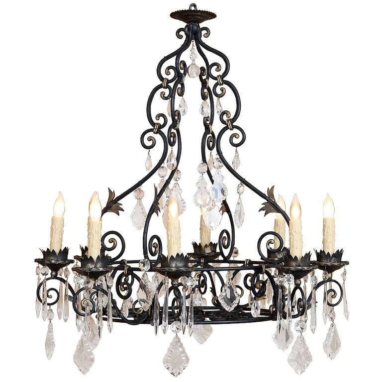 Vintage French Wrought Iron Crystal Chandelier For