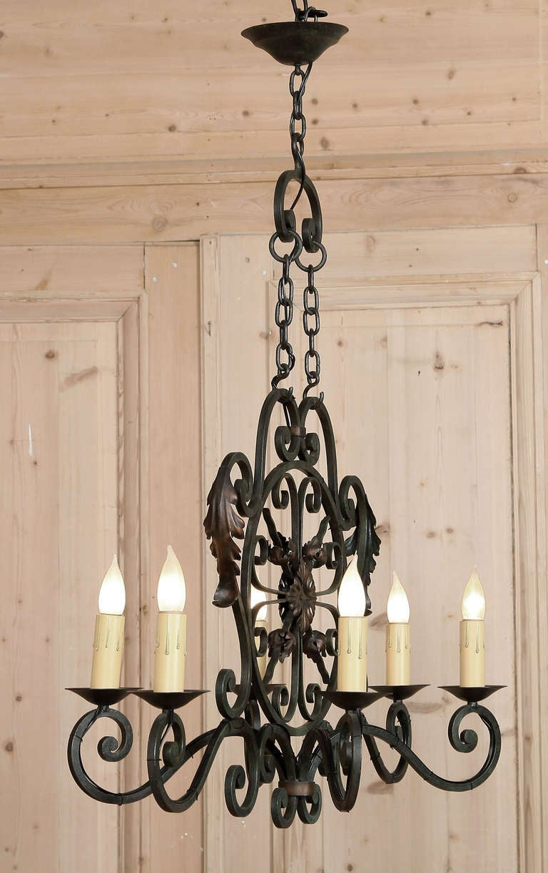 Antique Country French Wrought Iron Chandelier 2 - Antique Country French Wrought Iron Chandelier At 1stdibs
