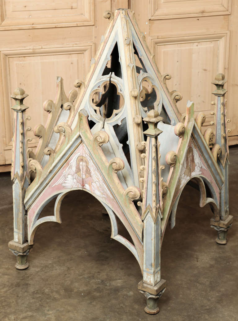 Antique French Gothic Painted Shrine Canopy For Sale At
