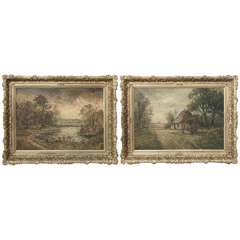 Pair of Antique Framed Oil Paintings on Canvas