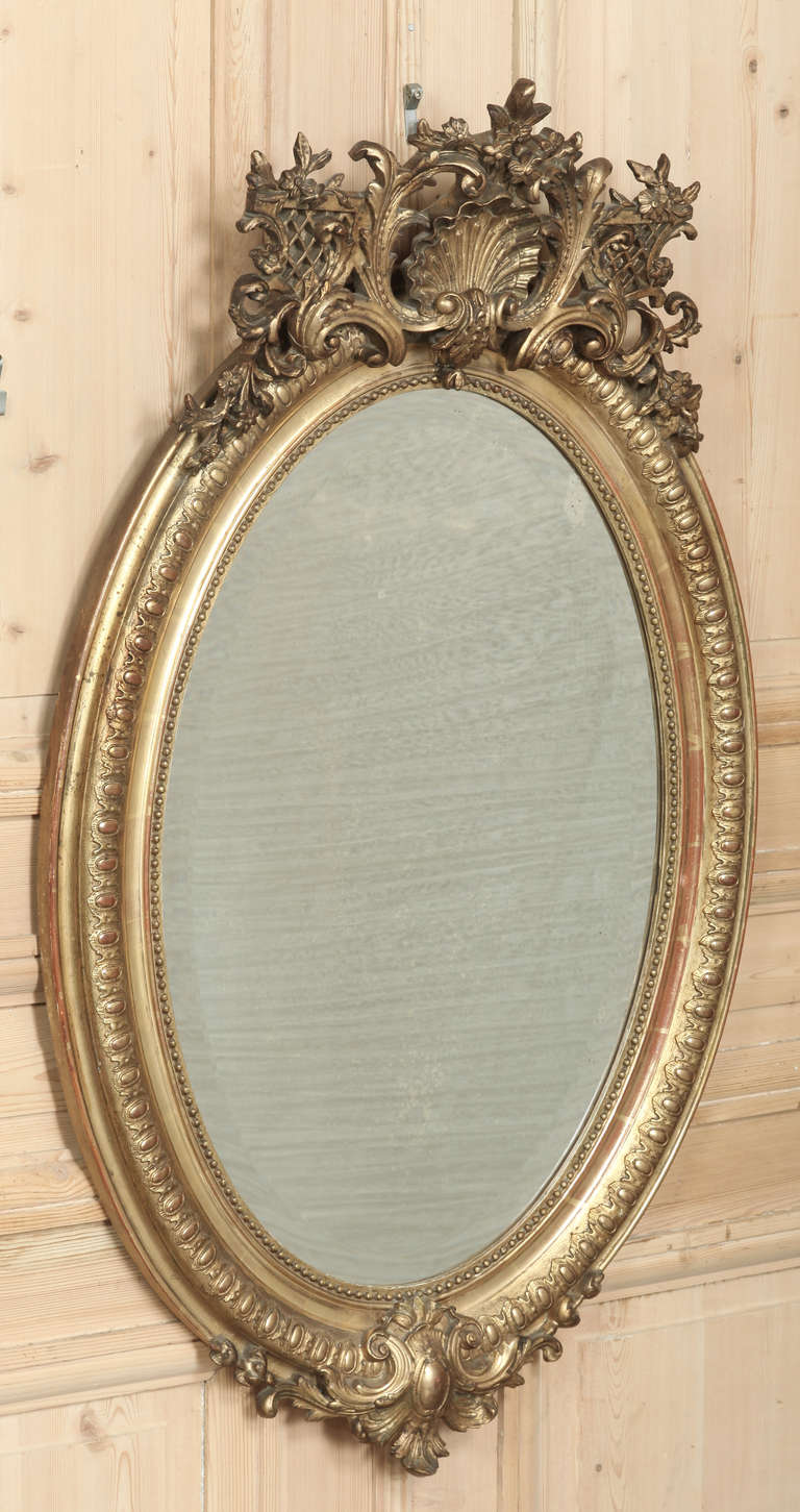 Antique French Regence Gilded Oval Mirror At 1stdibs