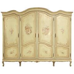 Vintage Venetian Four-Door Painted Armoire