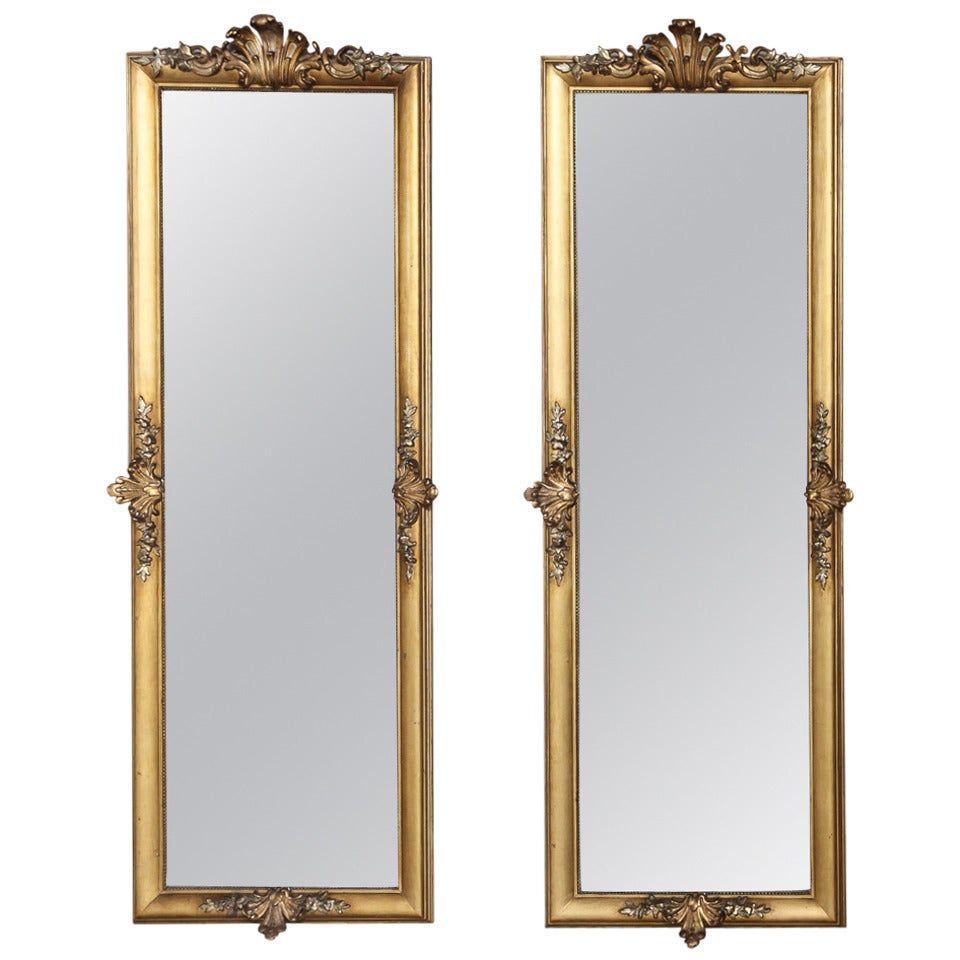 19th century pair of french baroque gilded mirrors at 1stdibs for Gilded baroque mirror