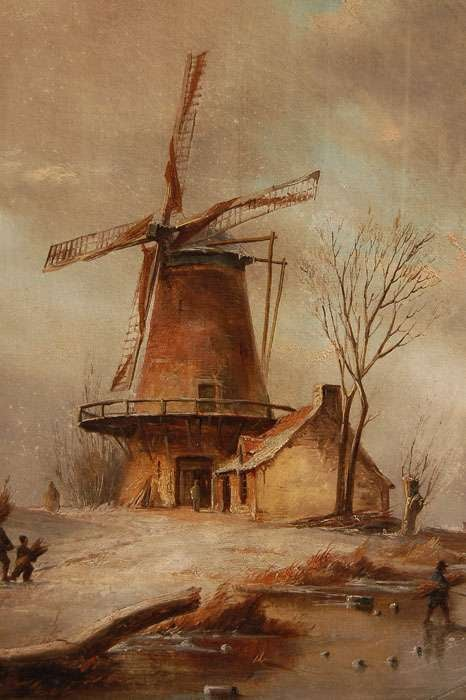 Wintry Landscape with Windmill Antique Painting For Sale ... Dutch Windmill Painting