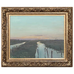 19th Century Gilded Frame with Landscape Painting Oil on Canvas