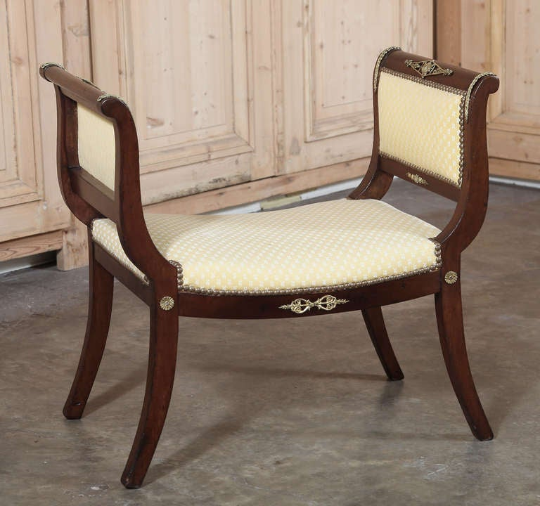 Antique 2nd French Empire Period Mahogany Stool Or Arm