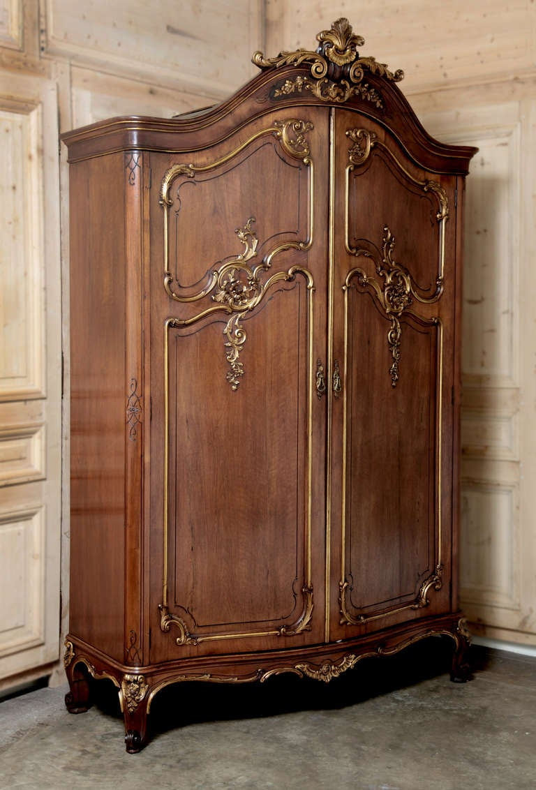 Antique French Regence Serpentine Walnut Armoire at 1stdibs