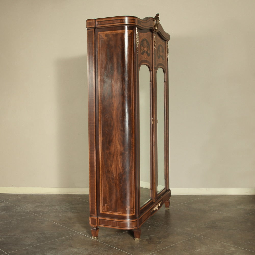 19th Century Neoclassical Marquetry Armoire Image 2