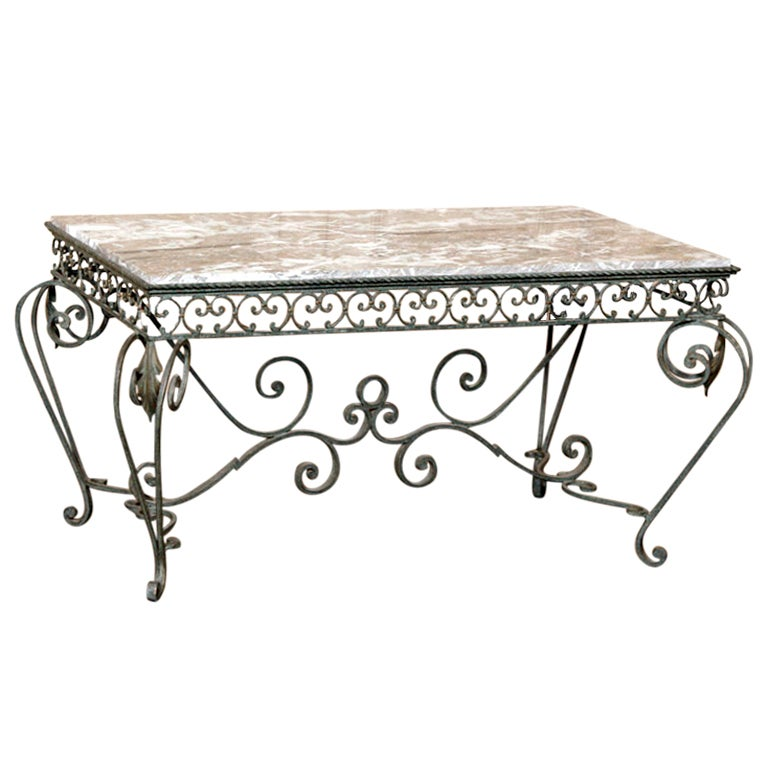 Vintage marble and wrought iron coffee table at 1stdibs for Stone and iron coffee table