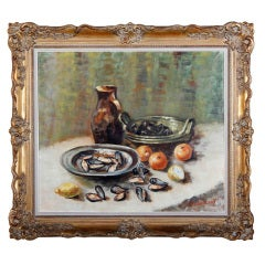 Antique Still Life Painting, Oil on Canvas Signed by Painter J. Bouqueois
