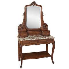 Antique French Louis XV Walnut Vanity