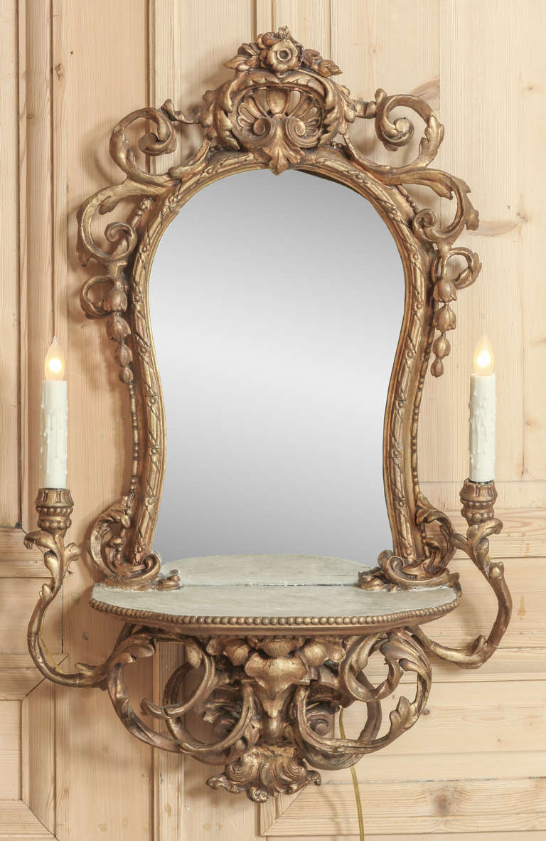 vintage italian rococo lighted vanity mirror at 1stdibs. Black Bedroom Furniture Sets. Home Design Ideas