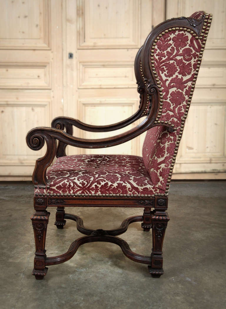 antique french louis xiv wingback fauteuil at 1stdibs. Black Bedroom Furniture Sets. Home Design Ideas