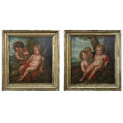 Pair Antique Framed Oils on Board