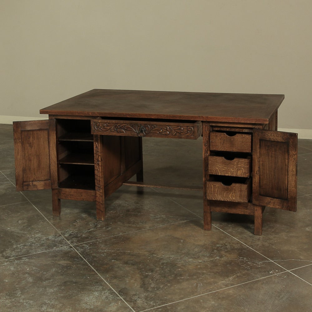 vintage french solid oak partners gothic desk saturday sale at 1stdibs. Black Bedroom Furniture Sets. Home Design Ideas