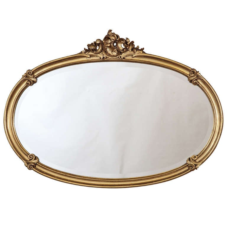 Antique Louis XV Giltwood Oval Mirror at 1stdibs