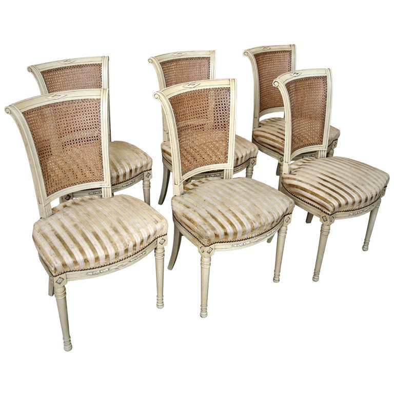 Set Of 6 Vintage Directoire Painted Chairs At 1stdibs