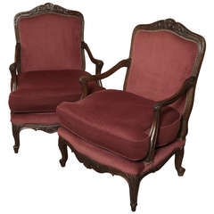 Pair of Antique French Louis XV Walnut Armchairs