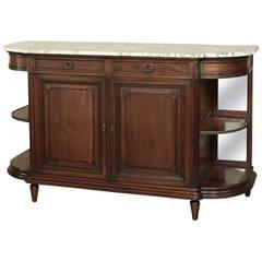 19th Century Louis XVI Walnut Marble-Top Display Buffet