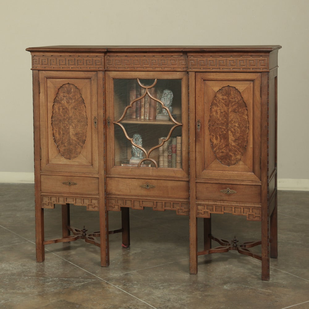 Vintage Chinese Chippendale Style English Raised Bookcase At 1stdibs