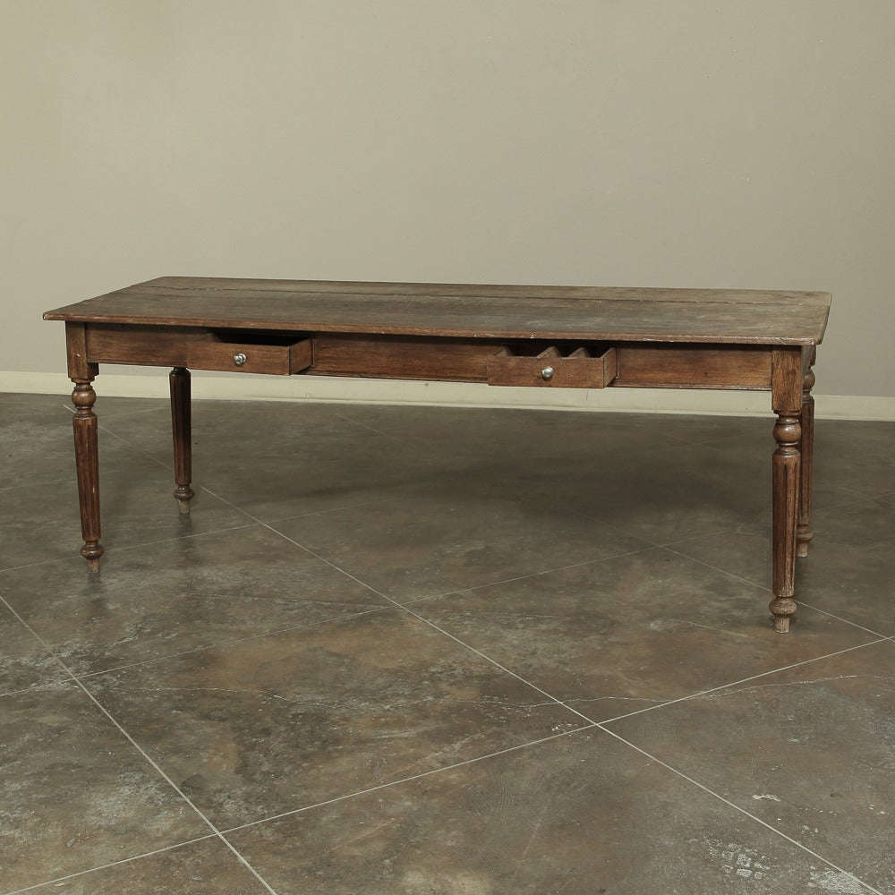 Hand-Crafted 19th Century Rustic Country French Farm Table from Normandy  For Sale