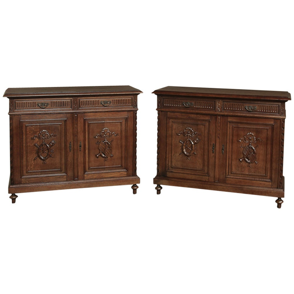 Pair Of Antique French Walnut Neoclassical Buffets