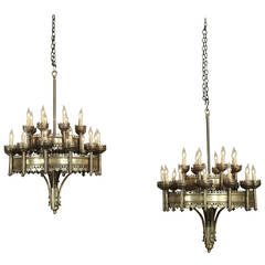 antique pair of gothic brass and bronze chandeliers chandeliers and pendant lighting