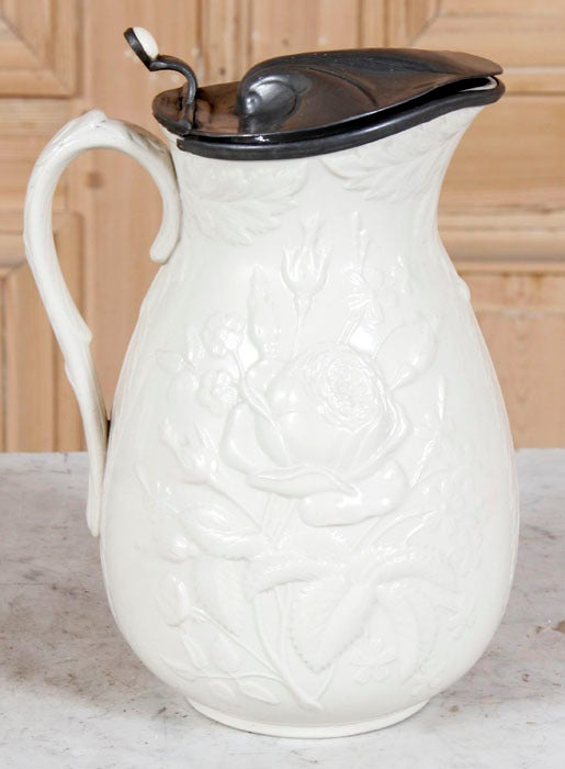Antique White Ceramic Pitcher With Pewter Lid At 1stdibs