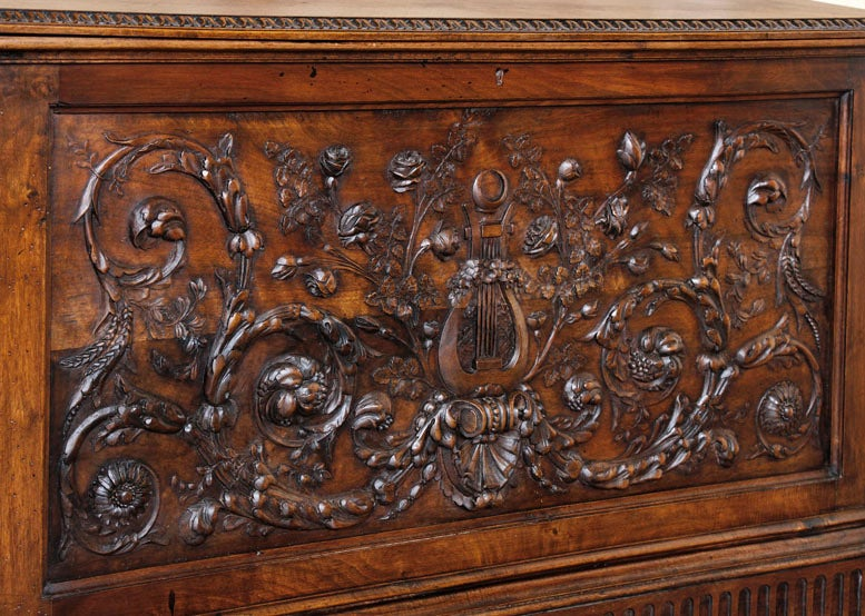 Antique Henri II Walnut Trunk 5