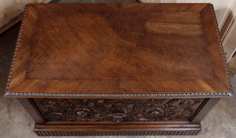 Antique Henri II Walnut Trunk 8
