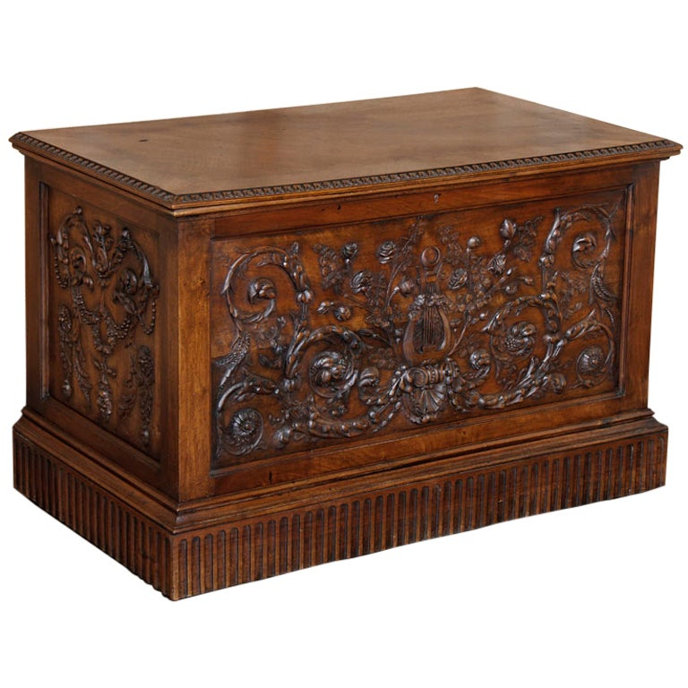 Antique Henri II Walnut Trunk