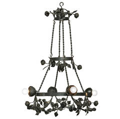 "French Art Deco Forged Wrought Iron ""Rose"" Chandelier"
