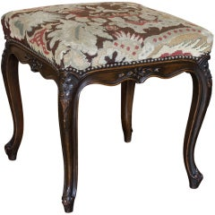 Antique Country French Tapestry Footstool