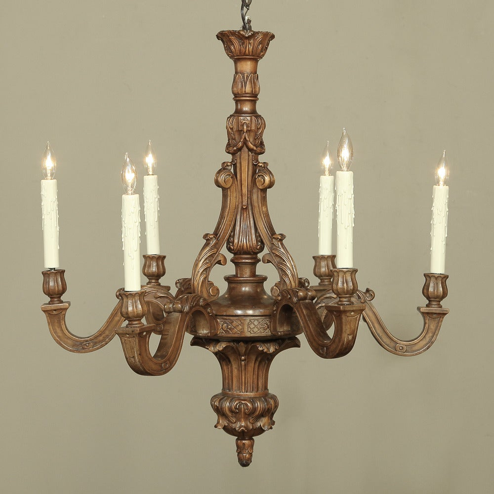 French neoclassical carved wood chandelier at 1stdibs for Wood pendant chandelier