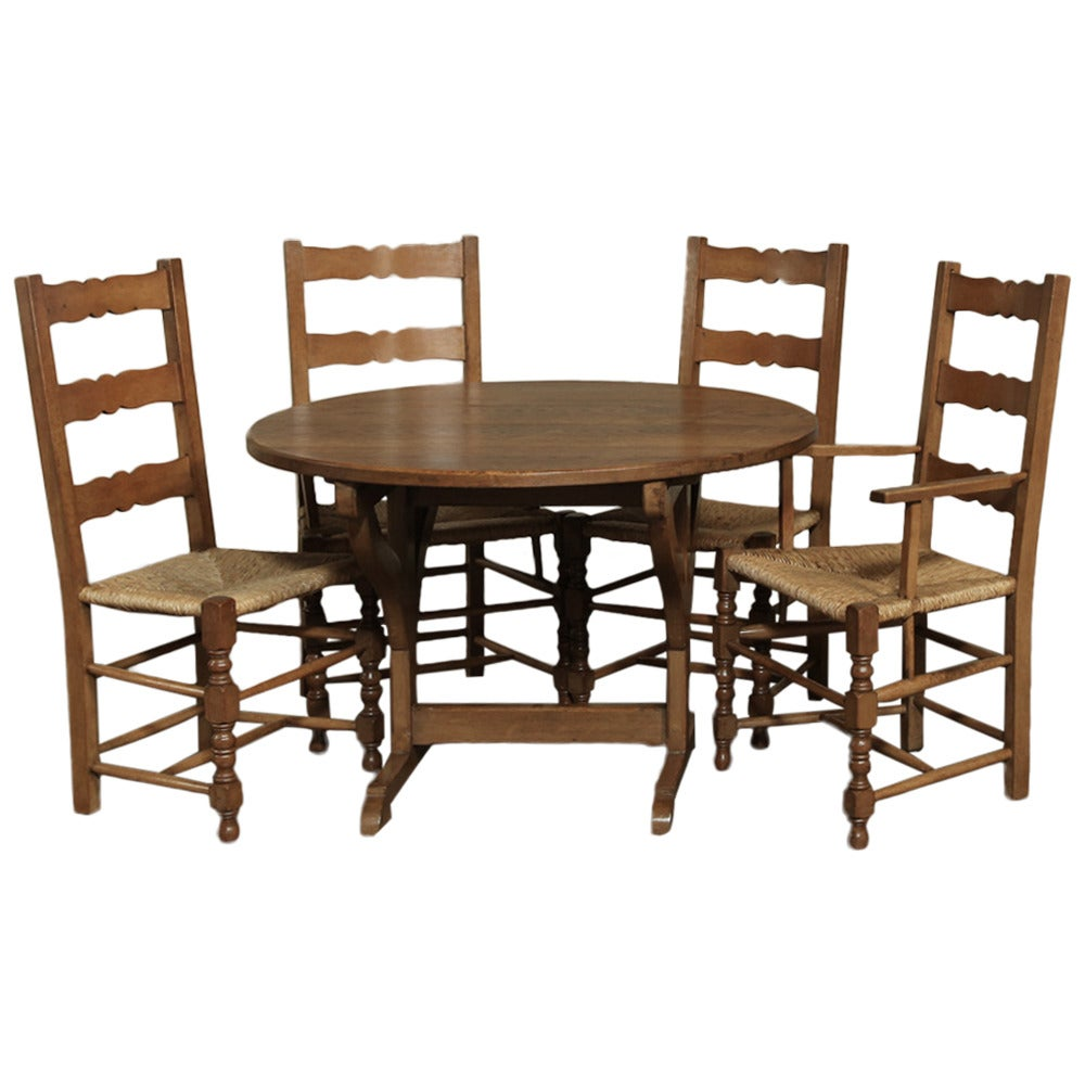 Country french breakfast or game table with two armchairs for Dining room game table