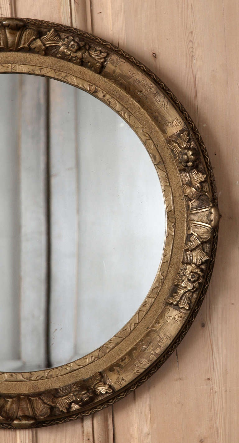 Antique Round Giltwood Mirror At 1stdibs