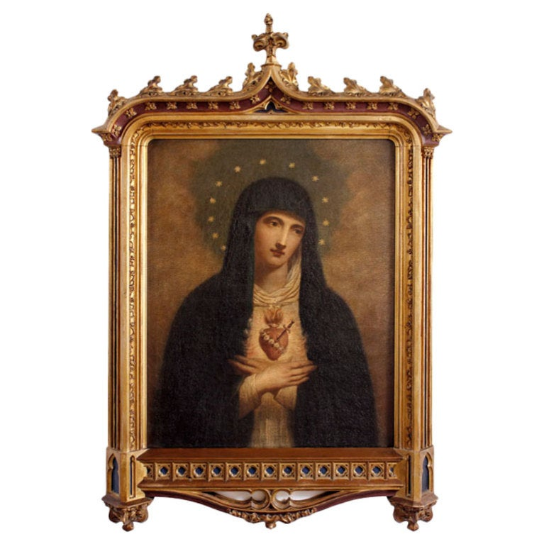 Antique Oil Of The Madonna In Original Gothic Giltwood