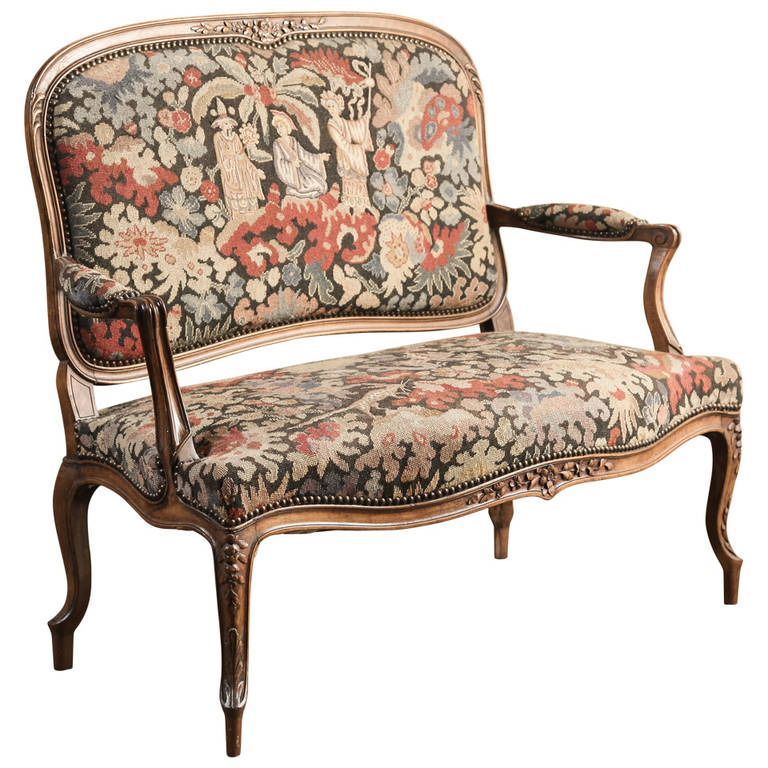 Antique French Louis XV Tapestry Canapé at 1stdibs