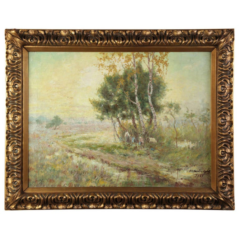 Impressionistic Pastoral Oil Painting on Canvas by C. V. Santweghs, Dated 1927