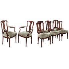 Set of Eight Mahogany Chairs includes 2 Armchairs